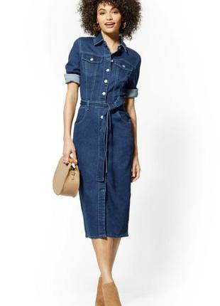 Дизайнерское/джинсовое платье/рубашка карандаш под пояс vicki vero spain испания.