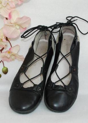 Кожаные туфли мокасины на завязках стелька 24 см