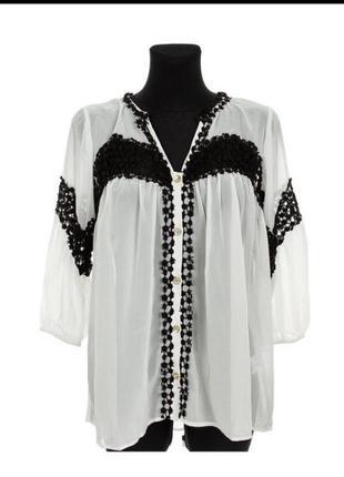 Нежная блуза блузка чисто белая гипюр нарядная стильная модная оверсайз