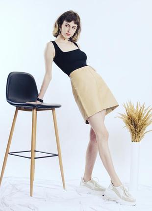 Кожаная юбка бежевая, весенняя юбка трапеция, юбка экокожа, юбка мини, спідниця2 фото