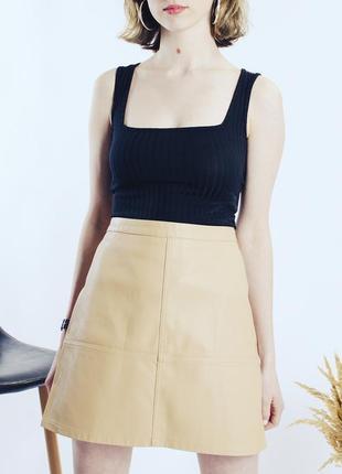 Кожаная юбка бежевая, весенняя юбка трапеция, юбка экокожа, юбка мини, спідниця