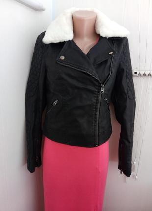 Эффектная кожаная курточка куртка косуха (с мехом в комплекте), плотная эко кожа, topshop