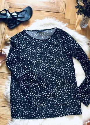 Прозора блузка в горошок чорно-біла