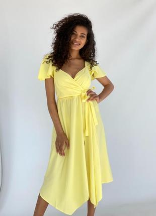 Летний женский сарафан с запахом вверхус асимметричной юбкой ! беж лимон