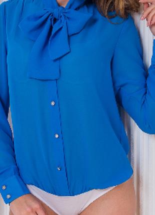 Шифоновая блузка-боди с воротником-бантом