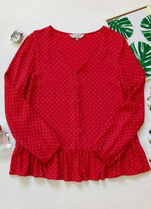 Блуза с принтом в горошек, блуза с натуральной ткани