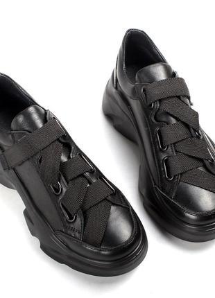 Кроссовки из натуральной кожи черные, отличное качество