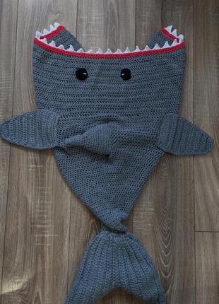 Детский вязанный плед акула, спальный мешок, кокон, конверт,baby shark