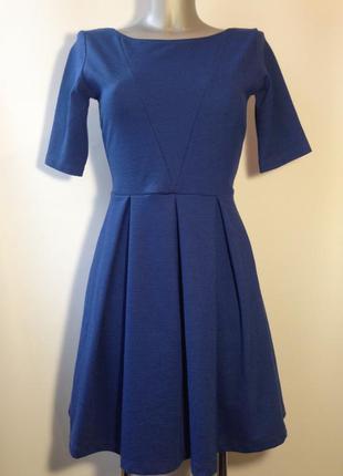 Платье клеш синее размер 10