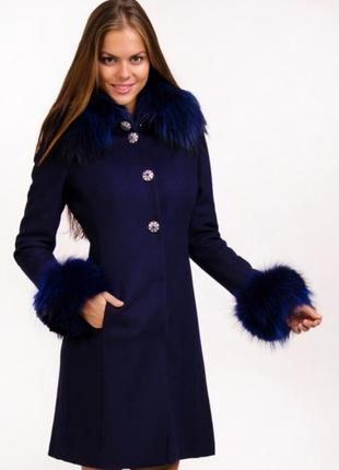 Новое шерстяное пальто с натуральным сьёмным мехом на кнопках
