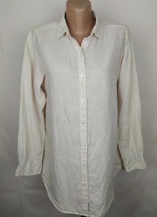 Блуза рубашка натуральная льняная оригинал 100% лён uniqlo uk 14/42/l #розвантажуюсь