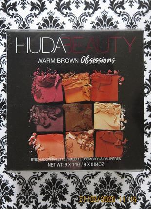 Палетка теней huda beauty warm brown obsessions 9 оттенков, 10 г тени eyeshadow palette