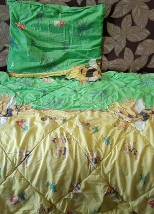 Детский набор в кроватку одеяло одеяльце подушка постель