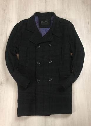 F9 пальто marks&spencer 55%wool полушерстяное клетчатая в клетку двубортное