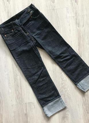 Классические темно-синие джинсы, прямые с подворотами, next