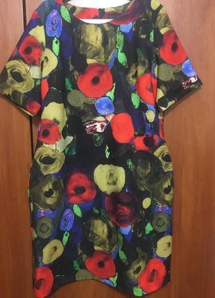Распродажа платье миди акварель турция ertu размер 52 укр
