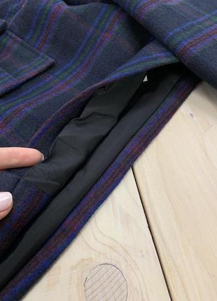 Шерстяная укороченная весенняя куртка жакет в клетку на пуговицах bershka6 фото