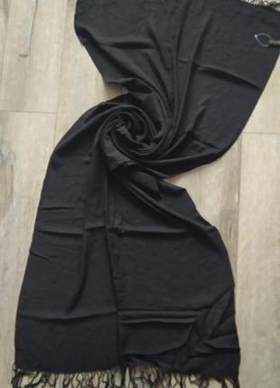 Accessorize, черный палантин,шаль с кистями из натуральной вискозы, новый