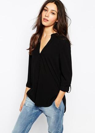 Чёрная блуза рубашка с длинным рукавом женская шифоновая прозрачная v вырез