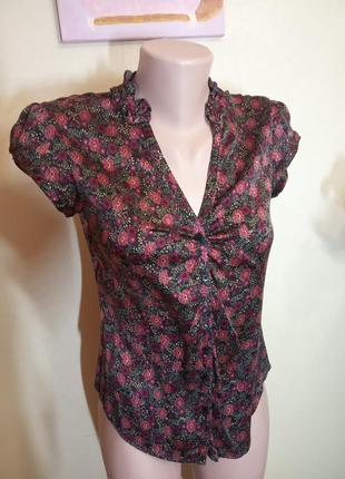 Блуза из натурального шелка с цветочным принтом
