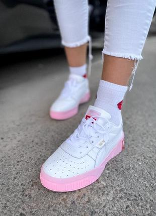 Женские кожаные розовые кроссовки {кеды} puma cali white pink {пума кали белые}2 фото