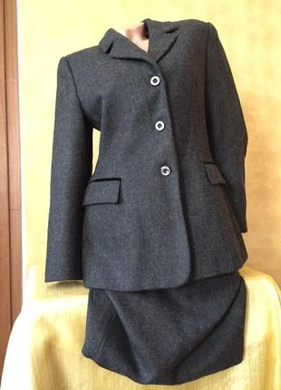 Итальянский шерстяной серий костюм с юбкой/ пиджак и юбка