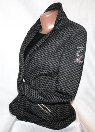 Жакет пиджак трикотаж коттон синий с белым l' argentina португалия