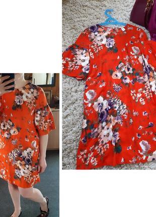 Яркое  комфортное платье в цветочный принт,  h&m, p. 10-12
