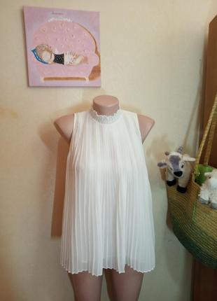 Нарядная блуза плиссэ плиссе белая