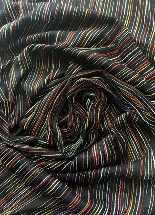 Шарф палантин черный, в разноцветную полоску