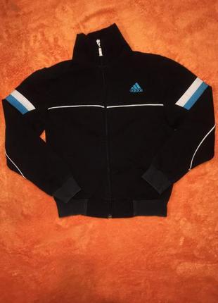 Крутая фирменная олимпийка спортивная куртка черного цвета на мальчика 8-10 лет