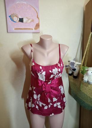 Яркая сочная блуза топ из натурального шелка цвета китайской вишни