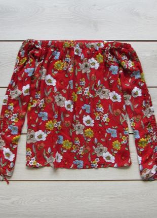 Блуза на плечах на резинке в цветочный принт большой размер от f&f