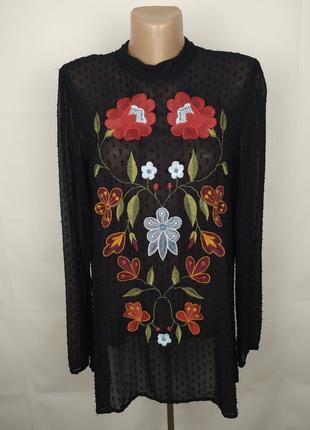 Блуза стильная с вышивкой zara uk 10/38/s #розвантажуюсь