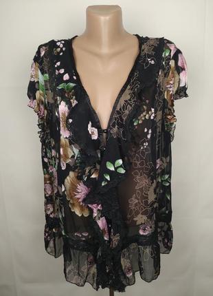 Блуза шелковая шикарная большого размера uk 20/48/3xl