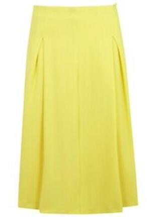 Яркая неоновая желтая миди юбка с-м (10)