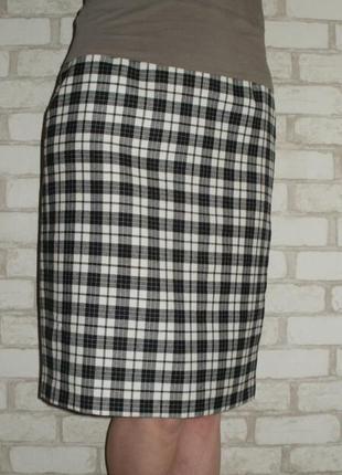 Шерстяная прямая юбка alexon, юбка в клетку, юбка ниже колена размер 34-36