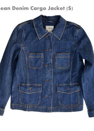 Американская джинсовая куртка-жакет l.l.bean denim cargo jacket (s) новая с ярлыком