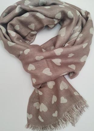 Шарф в сердечки*шарф*+в подарок
