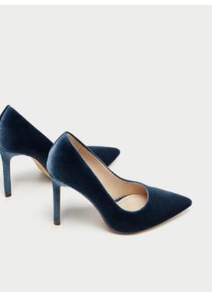 Бархатные лодочки бархатные туфли голубые синие туфли на шпильке