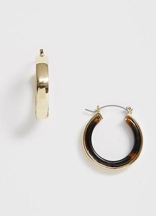 Миниатюрные серьги-кольца с черепаховыми вставками от pieces оригинал