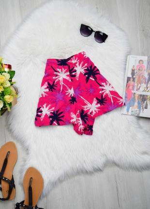 Летние розовые шорты шортики высокая посадка пальмы