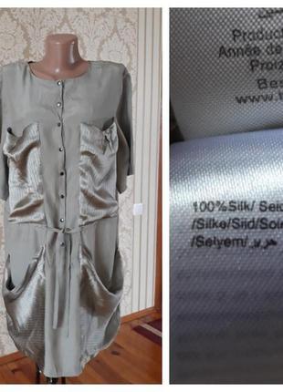 Шелковая платье рубашка туника блузка 100% шёлк в оливковом цвете