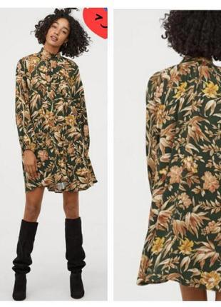 Шикарное принтовое платье туника в цветы