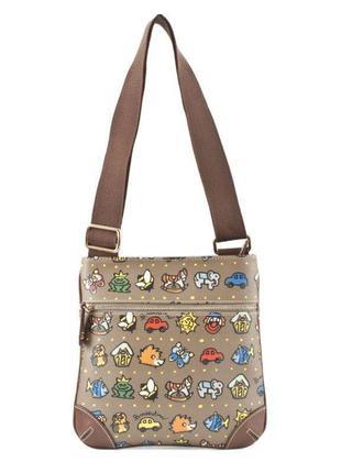 Итальянская кожаная сумка кросбоди crossbody braccialini temini, сумка на длинном ремешке
