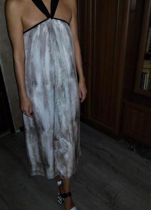 M&s limited collection 😍  шифоновое струящиеся платье-сарафан на чёрных лямках💣16-14