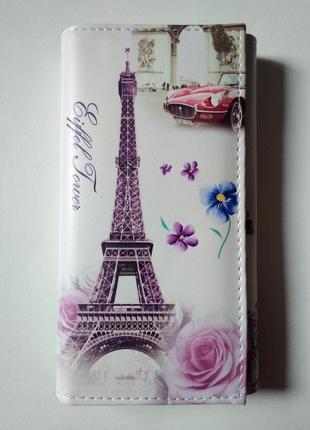 Новый большой длинный кошелек клатч винтажный париж бумажник винтаж paris розы