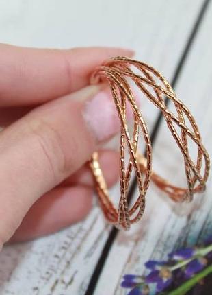 Серьги-кольца мед золото