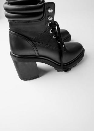 Кожаные стильные ботинки на каблуке zara 39 р.