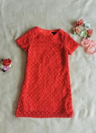 Marks&spencer (маркс и спенсер) неоновое ажурное платье. цветочное кружево. коралловое